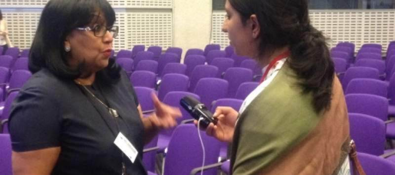 ICS volunteer Faiza Amin interviewing Baroness Verma