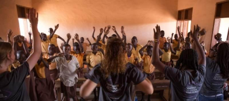 ICS volunteers lead a session in a classroom in Bolgatanga, Ghana
