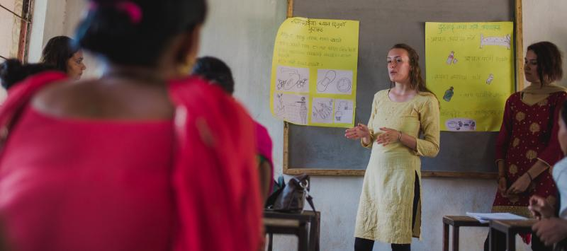 UK volunteers Ellie Russell delivering a session on menstrual hygiene