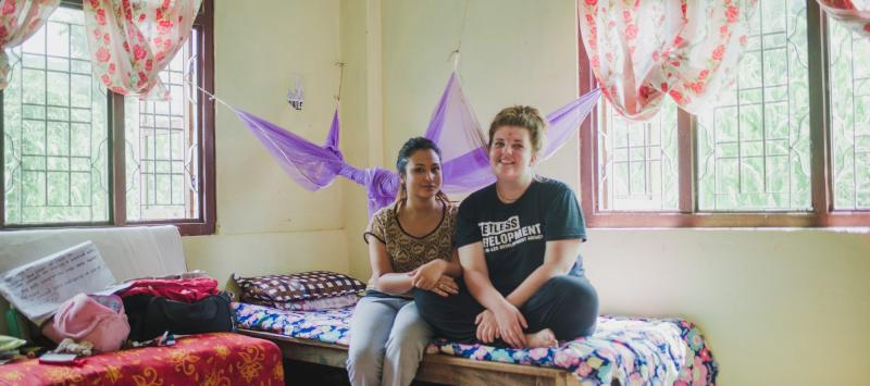 Nepalese volunteer Sharika Silwal and UK counterpart Rebecca Aston inside their host home