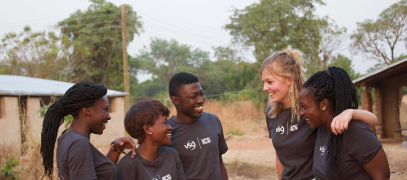 VSO ICS volunteers with their team leader, Ben, in their host community near Jirapa, Upper West region, Ghana