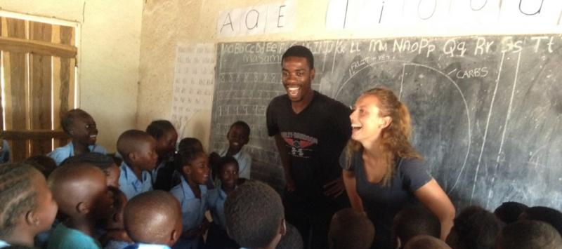 mwaanga and evie doing a session at mchmazi primary school