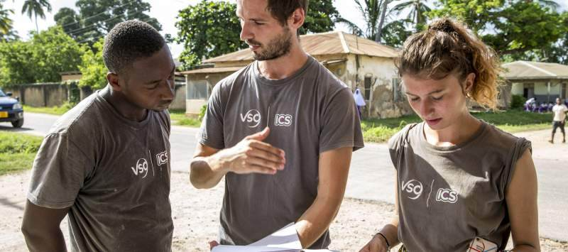 Nasir, Joe and Kitty prepare for a community action day in Lindi, Tanzania