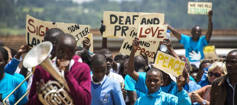 Deaf awareness march in Kapsabet, Kenya, organised by ICS volunteers