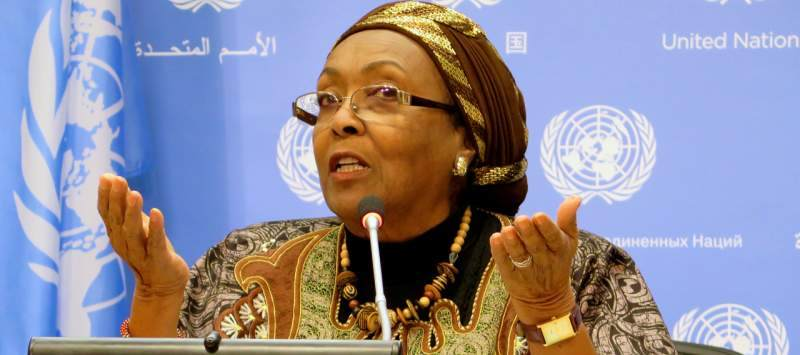 Edna delivers a speech during a US press conference on fighting FGM