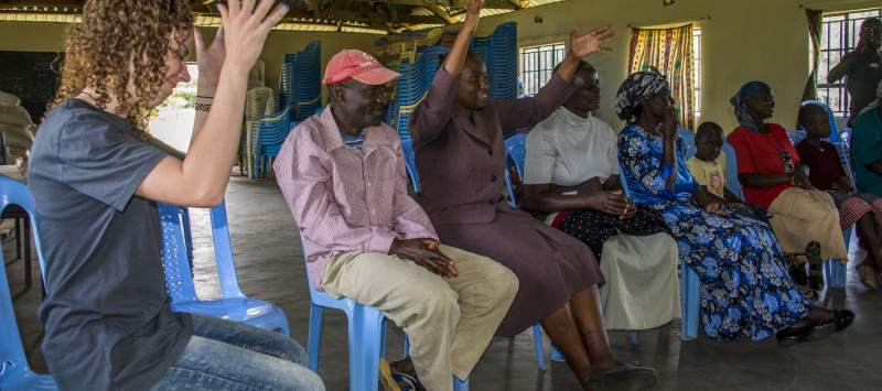 Volunteers at a Kenyan Sign Language session with parents in Kenya