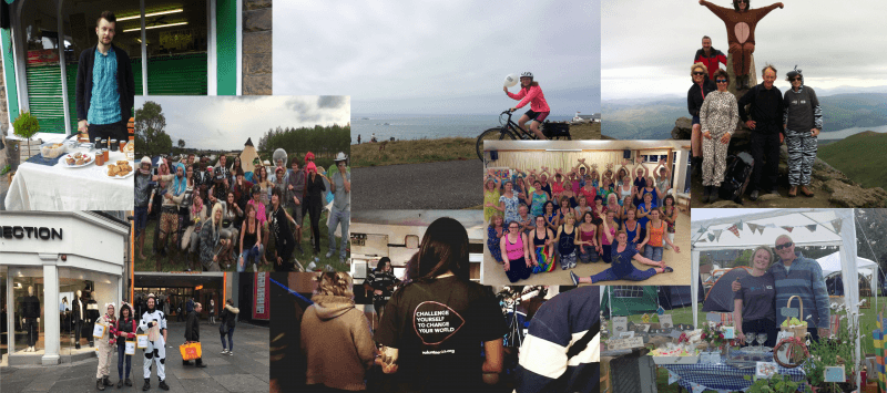 A selection of photographs of volunteers doing fundraising activities. Including a bake sale, sponsored bike ride, climbing Snowden and doing bucket collections.