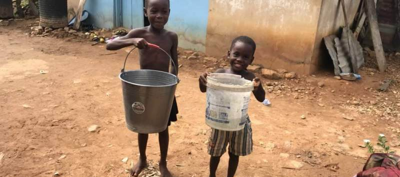 Young children previously had to walk long distances to fetch water that was sometimes dirty