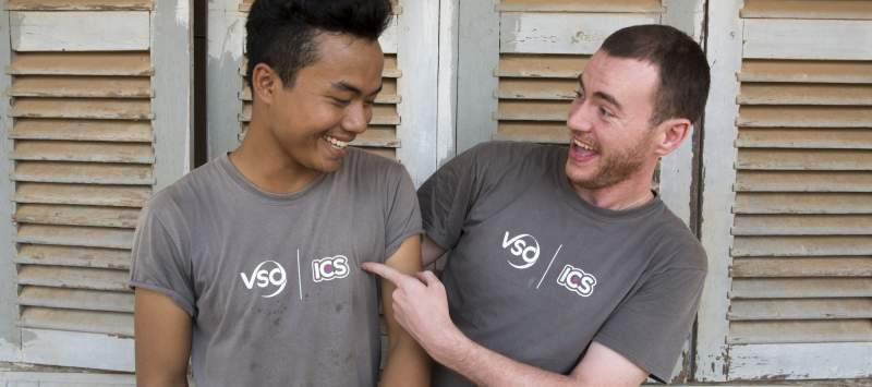 You're not alone: ICS team leaders Thai Long Phlai and Ross McCaffrey in Cambodia