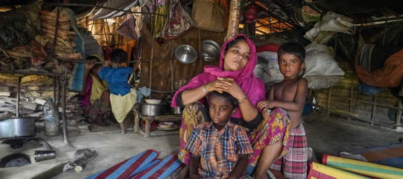 Rehena Basar, 25, and her children spent six days on the road after the army destroyed their house