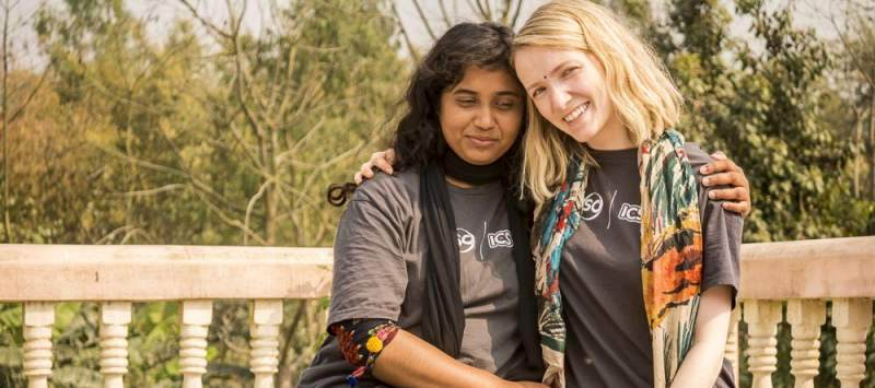 Bangladeshi and UK VSO ICS volunteers Arnika Ferdous Bristi and Juliet Cramb-Low