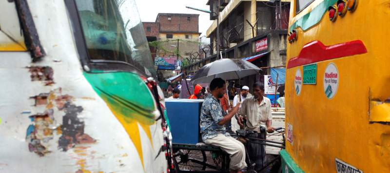 Dhaka has a population of 7 million. Most travel by public transport