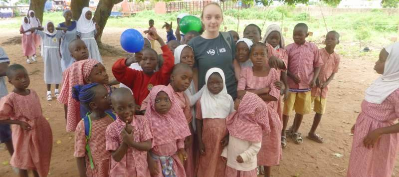 Clemmie with students in Nigeria