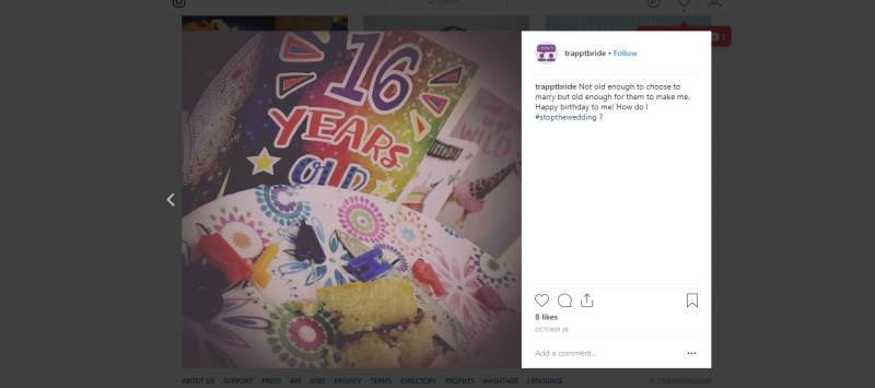Young people Beth are working with have created their own Insta campaign about early marriage