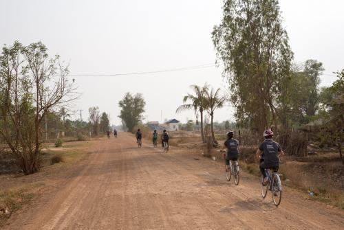Volunteers cycling in Cambodia