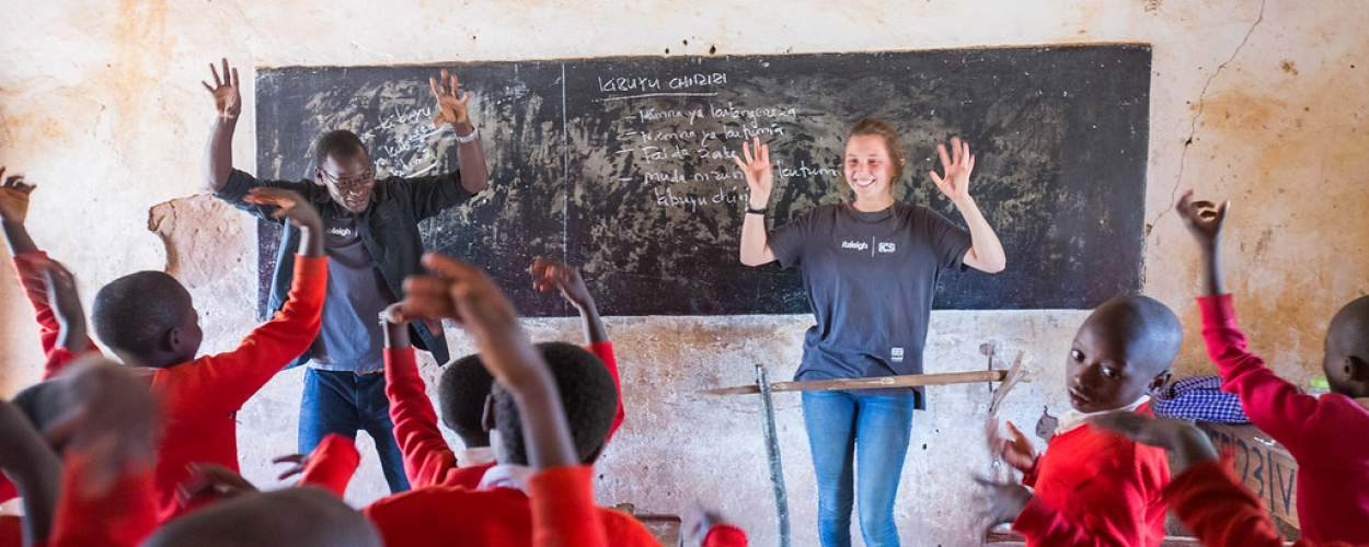 Raleigh volunteers in Tanzania teach the different stages of handwashing