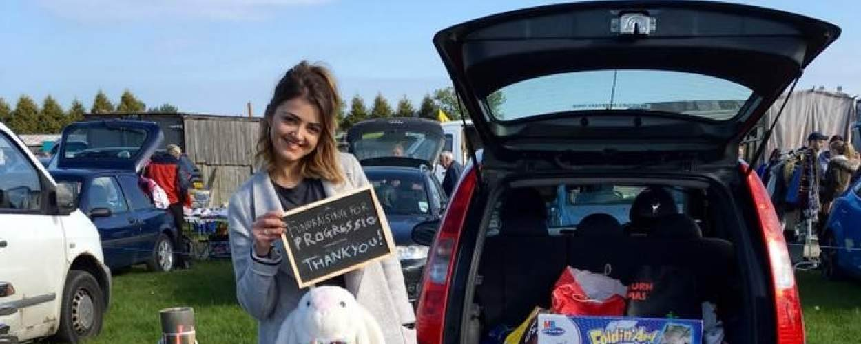 Progressio ICS volunteer Becca Foster at a car boot sale she held to fundraise for ICS