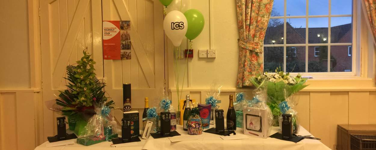 Table with raffle prizes