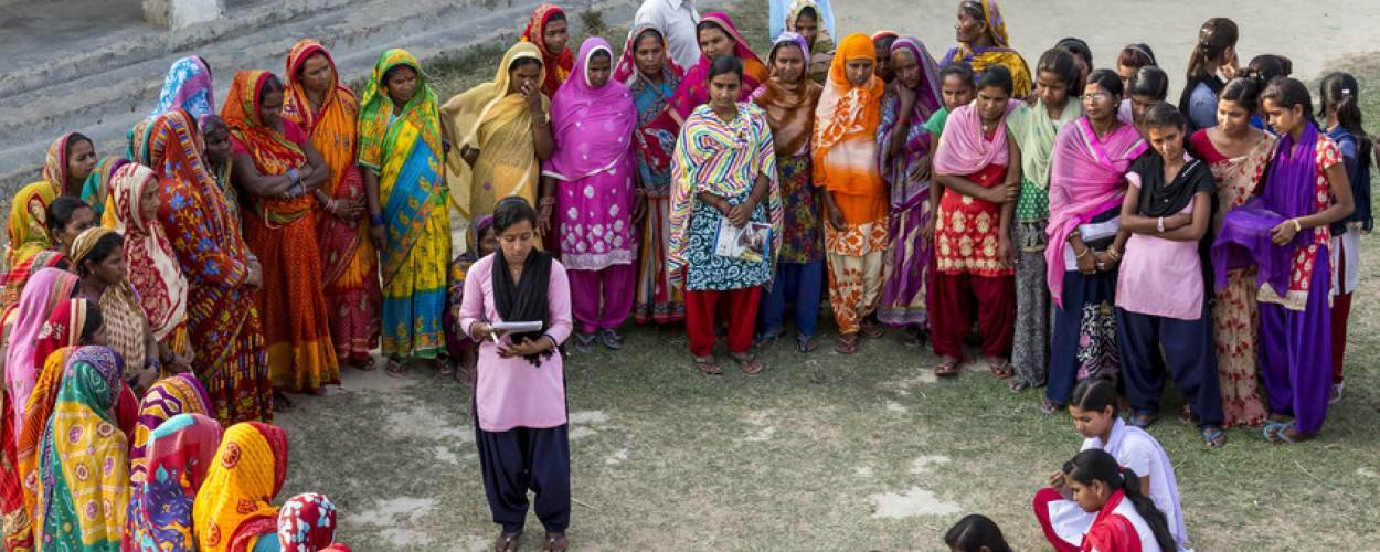 An awareness raising session on womens rights is held in the local community in Nepal