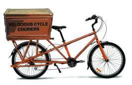 Illustration: bicycle with a large box strapped on the back