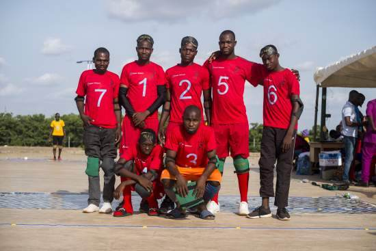 The Sandema goalball team at the tournament pose for a team photo