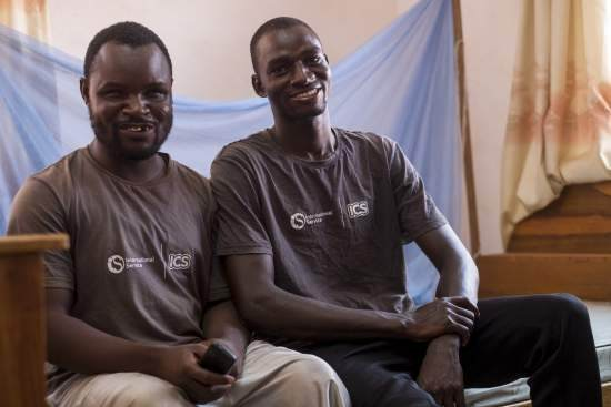 Ghanaian volunteers Amadu Alale, 23, with Mahe Imoro, 22
