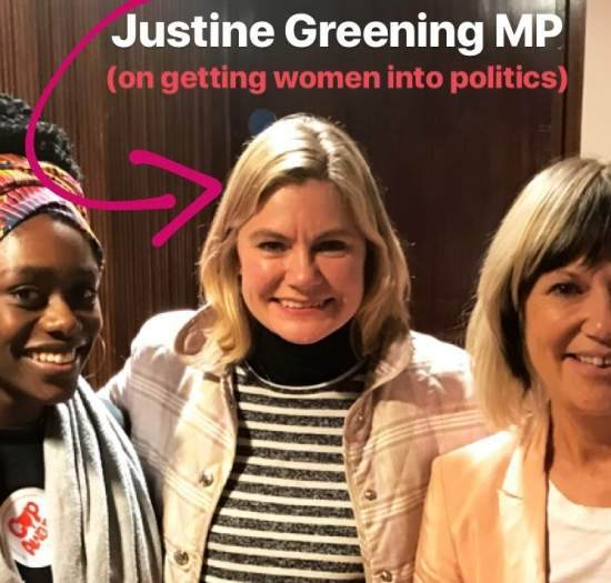 Tatch stands next to Justine Greening MP and Jude Kely