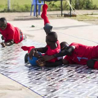 Two separate teams of volunteers - one in Sandema and one in Tamale - played each other before playing Ghana's national goalball team