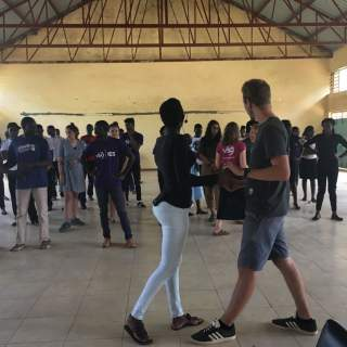 And the team held a salsa class for 50 young people